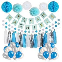 LITAUS Frozen Theme White and Blue Party Decorations for Gir