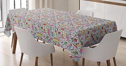 Funky Tablecloth by Ambesonne, Memphis Pattern with Mosaic 3