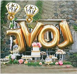 "B-G LOVE  and ""I Do"" Diamond Ring  Extra Large Balloon Set,"