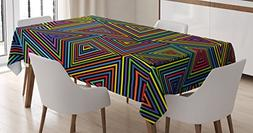 Geometric Tablecloth by Ambesonne, Modern Design in Rainbow