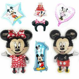 Giant Ballons 110cm Mickey Or Minnie Mouse Birthday Decorati