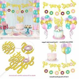 Glitter Donut Party Favors Set Grow Up Banner Cake Topper Ba