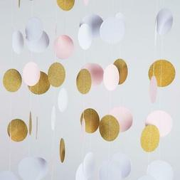 MOWO Glitter Paper Garland Circle Dots Hanging Decor,2'' Dia