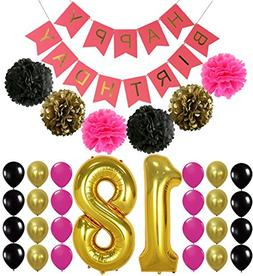 40inch 16TH Rose Gold Birthday Number Balloon with Happy Bir