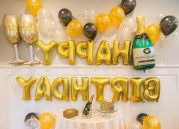 gold birthday party decorations set with happy