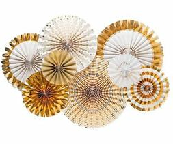 Fecedy Gold Paper Fan Flower Hanging Banner for Party Decora