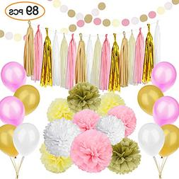 89 pcs Gold Pink Party Decorations Kit SIMPZIA Party Supplie