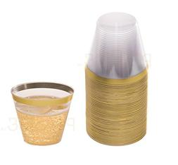 Gold Plastic Clear Cups | 9 oz. 50 Pack | Disposable Party C