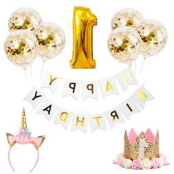 Gold Theme Baby Shower Party Decoration Confetti Balloons Pa