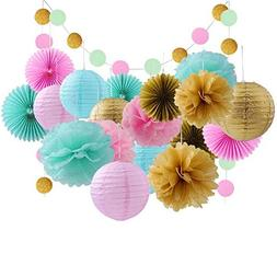 20 Pcs Gold Tissue Paper Flowers and Pink Pom Poms Lanterns