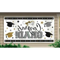 "Graduation Party Banner Decoration, Black/Silver/Gold, 65"" x"