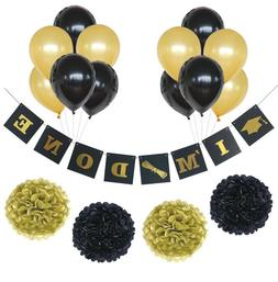 Graduation Party Decorations I'M DONE Banner Paper Pom Poms