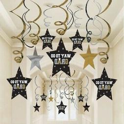Graduation Star Swirl Decorations - Black, Silver & Gold