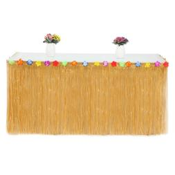 Grass Tropical Table Cover With Flowers 9 Ft Decoration Tabl