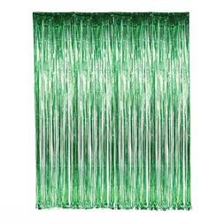 Set of 2 Green Foil Fringe Door & Window Curtain Party Decor