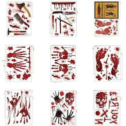 halloween bloody blood hand footprint stickers scary