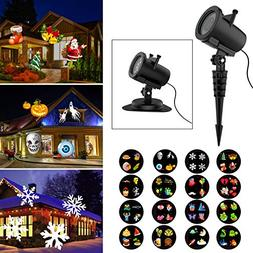 Halloween Christmas Projector Lights, 16 Slides Waterproof I