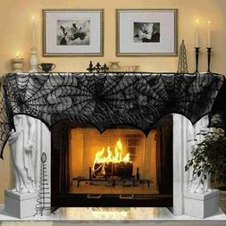 Halloween Decorations Props Black Lace Spiderweb Fireplace M