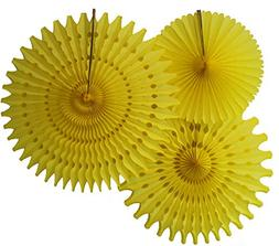 Hanging Honeycomb Tissue Fan, Yellow, Set of 3