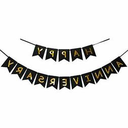 Happy Anniversary Banner - Gold Foiled Sign Wedding Party De