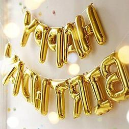 Outgeek Happy Birthday Balloons Banner Foil Letters Mylar fo