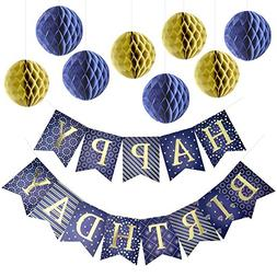 Enfy Happy Birthday Banner Party Decorations with 8 Tissue P