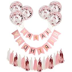 Happy Birthday Banner Rose Gold Tassel <font><b>Party</b></f