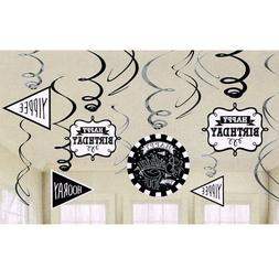 HAPPY BIRTHDAY Chalkboard HANGING SWIRLS  ~ Party Supplies D