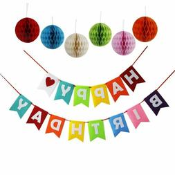 happy birthday decoration banner with colorful tissue