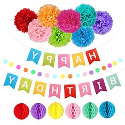 Happy Birthday Decorations Banner with Tissue Pom Poms Honey