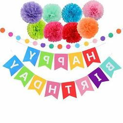Happy Birthday Decoration Banner With Tissue Pom Poms For Ra