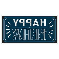 HAPPY BIRTHDAY MAN Banner Sign Party Decorations Blue Vintag