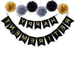Happy Retirement Banner Bunting-Retirement Party Supplies Fa