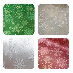 HOLIDAY Fabric Brocade SNOWFLAKES CHRISTMAS Shiny Decor Part