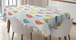 Ambesonne Home Decor Tablecloth, Colorful Balloons Birthday