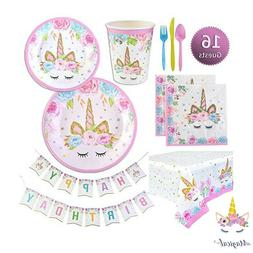 Hot!Princess Unicorn Party Supplies Set Kids Birthday Party