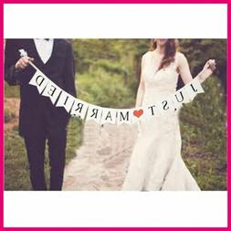 JUST MARRIED Wedding Banner Party Decorations Bunting Garlan