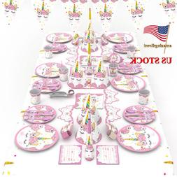 Kids Unicorn Tableware Birthday Theme Hanging Supply Party S