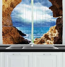 Ambesonne Kitchen Decor Collection, Ocean View Through Cave