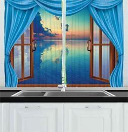 Ambesonne Kitchen Decor Collection, Window View of the Ocean