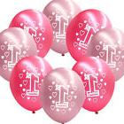 "10 Pink Girl's 1st Birthday Party Decoration Printed 11"" Lat"