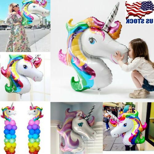 10PCS Unicorn Large Rainbow Foil Helium Balloon Kids Birthda
