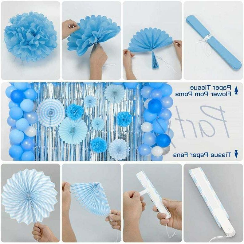 114 Pc Boy Baby Shower Blue Silver Balloons +