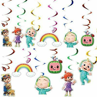 12pcs cocomelon party hanging swirls ceiling streamers