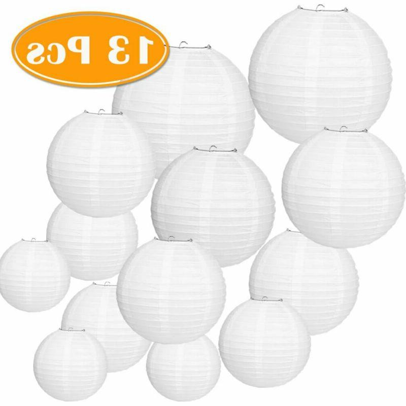 13 packs white paper lanterns with assorted
