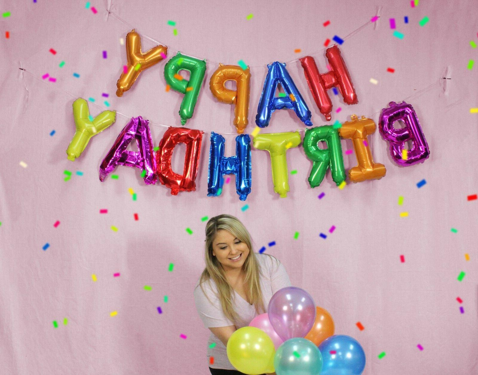 """13pc HAPPY BIRTHDAY Banner Foil Party Decoration 16"""""""
