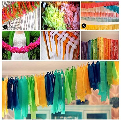 """Party Streamers Decorations Red White Black Gold Silver Crepe 1.8"""" Yard/roll for Photo Backdrop Party"""