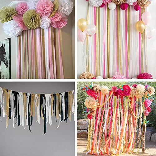 """15 405 Yard Party Streamers Red Black Gold Black Crepe Paper Rainbow 1.8"""" W Yard/roll for Photo Backdrop Party Mexican"""