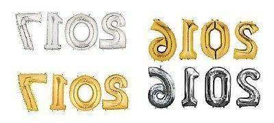 "16"" 40"" Silver Gold Mylar Letter Birthday Decoration"