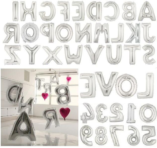 16 40 silver mylar letter number balloons